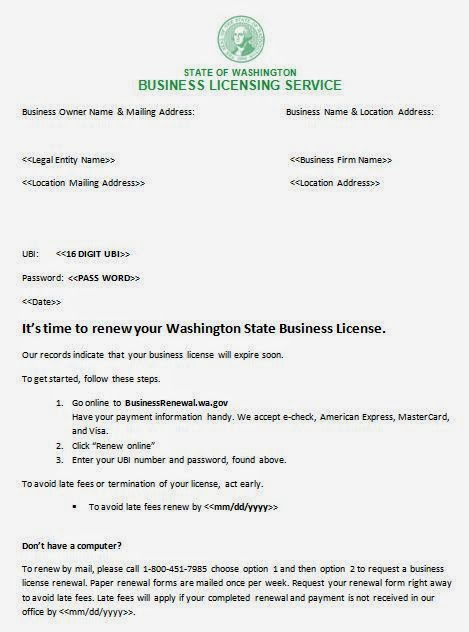 Washington Annual Report and Business License Renewal Change Effective June 2014