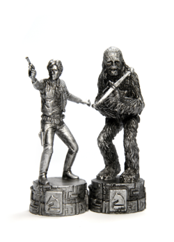"""[Image] Han Solo and Chewbacca Star Wars figurines. 