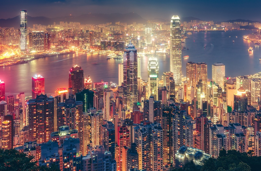 Night Time City Scape of Hong Kong