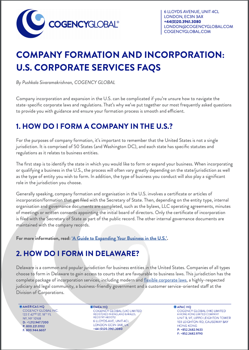 COGENCY - Company Formation and Incorporation U.S. Corporate Services