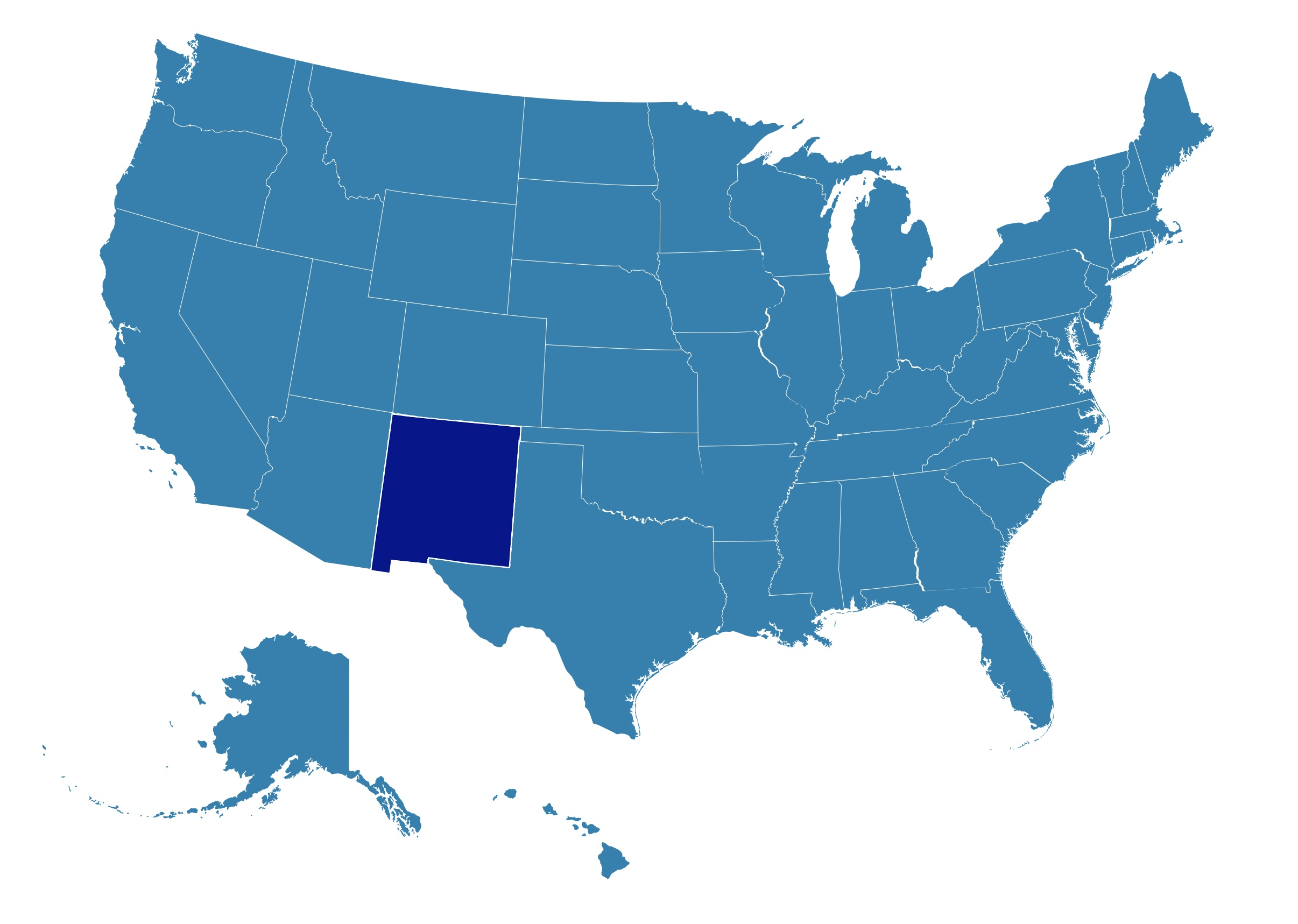 US Map with New Mexico highlighted