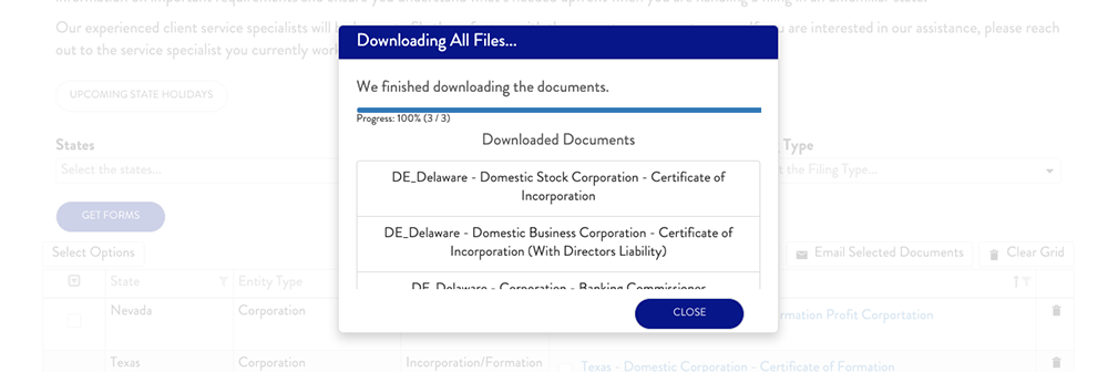 Downloading or Emailing Documents in Corporate Forms Library