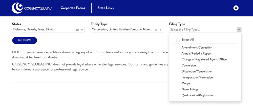 Flexible Selection in Corporate Forms Library